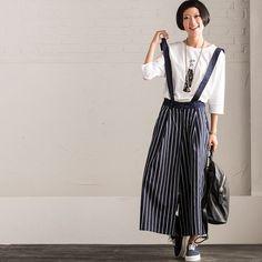 Fashion Stripe Cowboy Trousers Casual Cotton Overalls Women Pants N313A