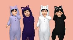 Anime Cat Onesies (Ciruelabob) -You need the mesh converted by @ooobsooo -> HERE -Each package has 4 swatches, all shown above Custom thumbnails Some hair will clip through, so I recommend you download/use the invisible hair hat provided by ooobsoo (linked above) that fixes this. Tag me if you use them- I'd love to see it! :)