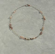 Copper and Shell Necklace, Seashell and Glass Bead Necklace, Mermaid's Trinket Necklace
