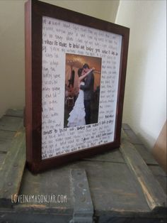 First Dance Frame with Lyrics    All you need is:    ..frame..    ..first dance photo..    ..song lyrics..    ..sharpie..    ..photo mat frame..    It's so easy it doesn't even need any instructions. Voila!