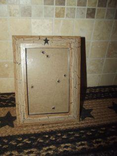 Primitive Wood Picture Frame 4x6  Crackle Tan Black Prim Star  Country Decor #NaivePrimitive