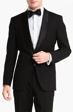 BOSS HUGO BOSS 'Sky/Gala' Trim Fit Wool Tuxedo (Free Next Day Shipping) available at #Nordstrom