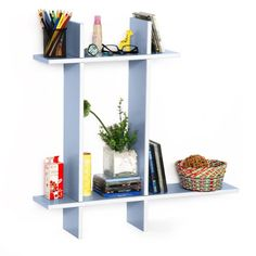Trista  Touch The SkyB Leather Cross Type Shelve  Book Shelve  Floating Shelve 4 pcs