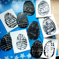 Styrofoam Printmaking with Kids for Easter