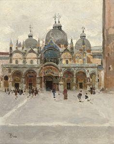 "FRANK DUVENECK The Basilica Di San Marco Oil on Panel 11.25"" x 9"