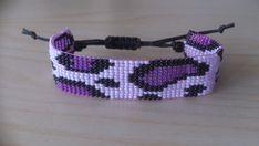 Loom beaded bracelet purple leopard / Beaded bracelet with waxed cord Bead Loom Bracelets, Beaded Bracelet Patterns, Beaded Jewelry, Loom Patterns, Beading Patterns, Loom Beading, How To Make Beads, Bead Weaving, Jewelry Making