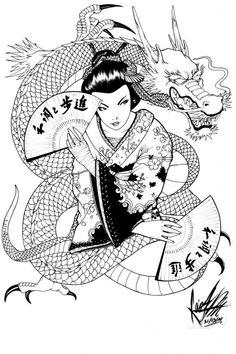 Tatuagem de Gueixa Desenho com Dragão
