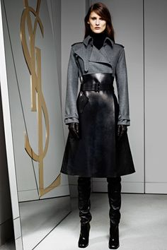 Yves Saint Laurent Pre-Fall 2012 - Love the collar detail on the jacket.