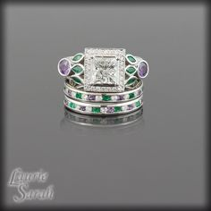 Cool, but check out the price?! Lilac Flower Inspired Princess Cut Diamond Three Ring Wedding Set with Purple Sapphires, Emeralds and Amethysts - LS2115. $29,999.00, via Etsy.