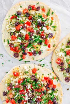 A quick + flavorful dinner like these greek flatbreads are an easy way to get your veggies.