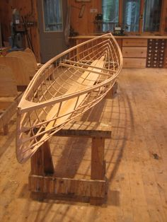 Snowshoe 14, Geodesic Airolite; skin-on-frame construction, 30lbs when finished. #canoe #wood #boat
