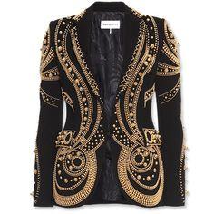 Lyst - Emilio Pucci Metallic Bead Embroidered Blazer in Black Emilio Pucci, Metallic Jacket, Gold Jacket, Metallic Gold, Black Gold, Studded Jacket, Beaded Jacket, Embroidered Jacket, Estilo Hippie Chic