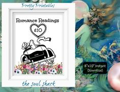 "Romance Tarot Card Readings in 6 Denominations (gbp). Instant download. DIY printable 8""x10"" signs, vintage couple in love. by TheSoulShack on Etsy"