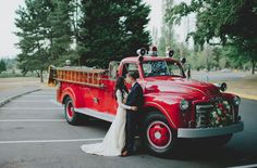 Awe, I've always loved when couples do pics at their wedding with old vehicles but havn't seen one with an old firetruck, I love it!