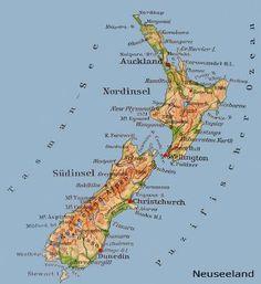 Neuseeland Nordinsel Sudinsel Karte Map Grafik Plan Neuseeland