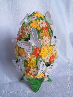 Поделка изделие Пасха Квиллинг Квиллинговые яйца Бумажные полосы фото 2