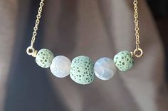 Items similar to Mint Green Aromatherapy Necklace Essential Oil Diffuser Necklace Agate Lava Stone on Etsy Diffuser Jewelry, Diffuser Necklace, Stone Jewelry, Beaded Jewelry, Beaded Bracelets, Essential Oil Jewelry, Essential Oils, Aromatherapy Jewelry, Making Ideas