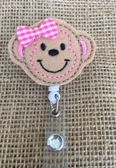 Mandy Monkey Retractable Reel ID Badge holder with alligator clip by LuLusLittleThings on Etsy https://www.etsy.com/listing/248749837/mandy-monkey-retractable-reel-id-badge