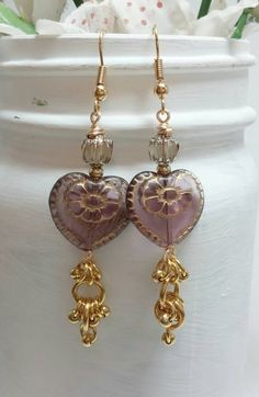Check out this item in my Etsy shop https://www.etsy.com/listing/235526568/gold-heart-dangle-earrings-pink-heart