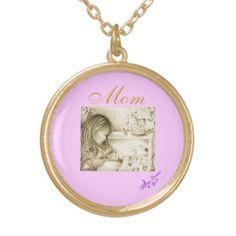 "Carousel Dreams ""Mom"" Round Gold Finish Necklace #necklace #gold #goldfinish #necklace #pink #mom #newmom #baby #carouseldreams #moondreamsmusic #zazzle #accessorize #jewelry"