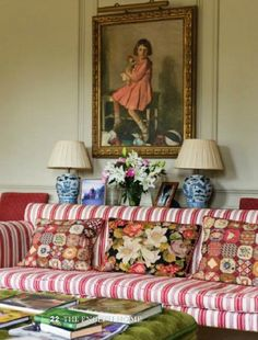 Red and white stripes, blue and white lamps, painting, chartreuse ottoman, taupe walls