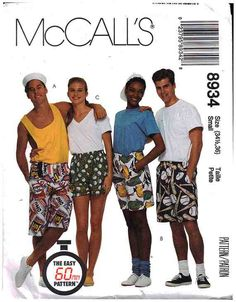 """McCall's Sewing Pattern 8934 Misses, Men's, Teen Boy's Boxer Shorts in three lengths Size: 34.5 - 36"""" Uncut"""