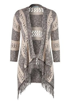 striped 3/4 sleeve cardigan with fringe (original price, $34) available at #Maurices