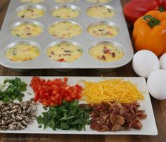 Mini Frittatas - Make with all your favorites and freeze for low-carb, easy, breakfast!
