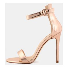 Open Toe Metallic Single Sole Heels ROSE GOLD ($34) ❤ liked on Polyvore featuring shoes, pumps, pink, high heel pumps, metallic pumps, pink stilettos, pink shoes and high heel stilettos
