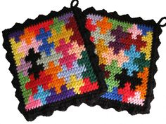 Crochet Inspiration ~ Puzzle Pot Holders.  {afghan or scarf idea}