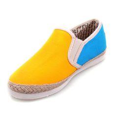 Cheap Toms Yellow Blue Rope Sole Flax Women Shoe