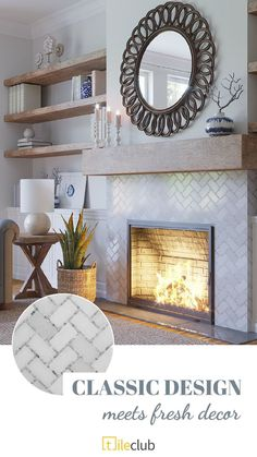 Decor, Fireplace Remodel, Home Living Room, Home Fireplace, Living Room With Fireplace, Fireplace Mantle Decor, White Marble Mosaic, Home Decor, House Interior