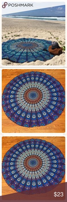 Mandala Beach Throw A gorgeous handmade 100% powerloom cotton beach throw featuring a center Mandala design. Brilliant and vibrant colors!  100% Cotton Fabric, Screen Printed ..Makes a great beach throw or beach cover up. Measures approximately 70 inch round. Swim