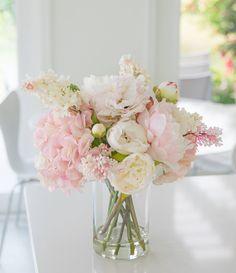 Water Centerpieces, Silk Flower Centerpieces, Pink Flower Arrangements, Peonies Centerpiece, Peony Arrangement, Centerpiece Ideas, Pink Wedding Centerpieces, Succulent Arrangements, Flower Decorations
