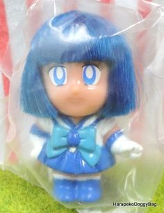 1990s : Japanese Anime / Shojo Manga : Bandai Gashapon Toys : Sailor Moon S : Styling Sailor : Puchi Mini Action Toy Figure Doll With Hair - Sailor Mercury
