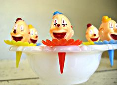 CLown Cupcake Toppers A Kitschy Set of Twelve New In by 30one, $5.50