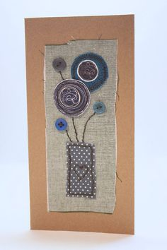 Handmade Blank Card Fabric Collage Vase of by PaperSoupCards