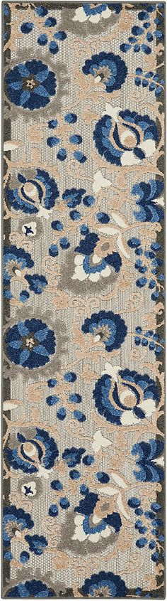 Nourison Aloha 10' Runner Blue Patio Area Rug | Ashley Furniture HomeStore Outdoor Runner Rug, Indoor Outdoor Rugs, Outdoor Area Rugs, Rug Runner, Deck Rug, Blue Patio, Modern Area Rugs, At Home Store, Indoor Air Quality
