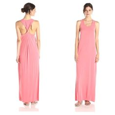 BCBG Twisted back tank maxi dress in coral Never worn! Super soft material, slit on sides of dress, XXS but wears more like a S or XS since it's a maxi dress with a semi loose fit BCBGMaxAzria Dresses Maxi