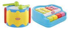 Meaningful exposure to music can start with infancy. Little Tikes Tap a Tune Piano and Drum toys are a great way to encourage music exploration for babies.