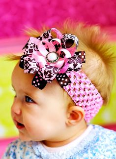 baby hair bow. cute pink and brown damask by SallyAnnaSunshine