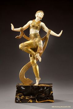 An Art Deco gilded bronze figure of a dancer by Joe Descomps, France circa 1925.