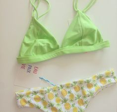 Pineapple neon (it would be cuter if the top was yellow) Summer Suits, Summer Wear, Bikini Beach, Beach Bum, Cute Bathing Suits, Cute Swimsuits, Summer Of Love, Swimming, My Style