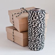 Baker's Twine 100 Yards Spool - BLACK // Gift Packaging - 2mm cotton twine