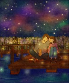 We went to the lake on a clear winter night. Shower of stars fall from the deep dark sky. I feel so lucky to share this moment of beauty with you.  눈이 오지 않은 밤, 호수에 나왔어요. 맑게 갠 하늘에서 별이 쏟아지는 것 같아요. 이 예쁜 장소에서 너와 함께 앉아있는게 참 좋아!www.watereffect.net