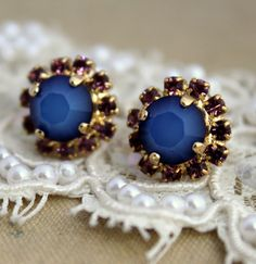 Authentic Handmade 14k Yellow Gold Plated Stud Earrings With Turquoise #Stud