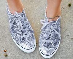 Shiny Silver Sneakers