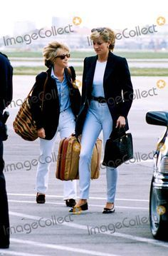 C/n 022488 5-10-1996 Heathrow Airport Princess Diana and Lady Cosima Somerset Leaves For Majorca Photo by: Dave Chancellor-alpha-Globe Photos Inc