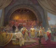Alphonse Mucha - Ottokar II of Bohemia. The Union of Slavic Dynasties (The cycle The Slav Epic) Alphonse Mucha, Art Nouveau, Moving To Paris, Reproduction, Oeuvre D'art, Ethereal, Psychedelic, Framed Artwork, Find Art