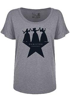 4068ba8c472a0 Hamilton the Broadway Musical Official - Dancing Ladies Grey T-Shirt -  Hamilton the Musical